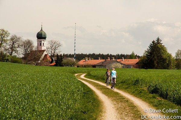 Following a cycle route to a little town