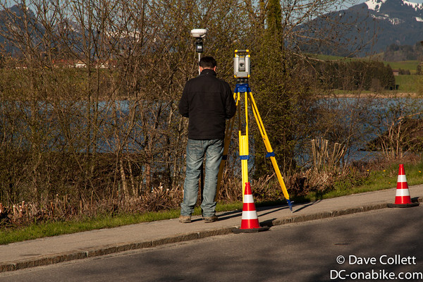 Surveyor with some nice kit- an RTK GNSS receiver and a robotic total station